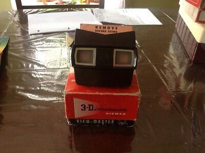 Vintage Brown View Master Model E In Original Box With Disneyland Reels