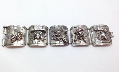 Vintage Peruvian Wide Storyteller Panel Bracelet 900 Sterling Silver 7 1/4 In...