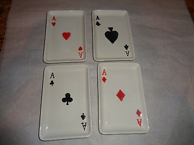 4 - Nantucket Home - Poker - Playing Cards - Appetizer - Dessert Plates - Aces