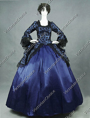 Renaissance Colonial Floral Fancy Dress Ball Gown Steampunk Theater Costume 143
