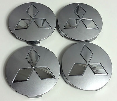 Set of 4 Wheel Centre Hub Caps MITSUBISHI Grey Chrome Logo 80mm BADGE COVER UK