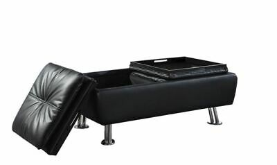 Black Faux Leather Storage Ottoman with Reversible Tray Tops by Coaster 300283