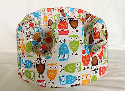 *NEW DESIGN'  Bumbo 100% Cotton Seat Cover with Harness Slots 'Wise Owls'