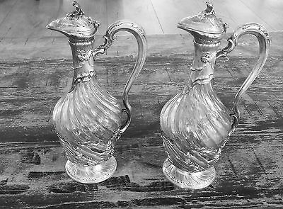 ART Nouveau French Sterling Silver Crystal glass  Decanter Claret jug pitcher 2