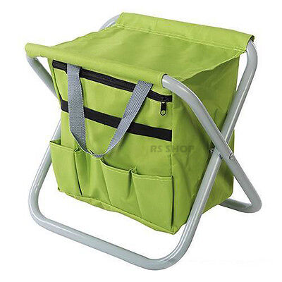 Folding Portable Garden Stool Outdoor Camping Seat Fishing Chair with Tool Bag