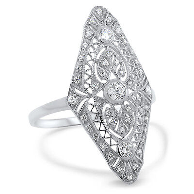 Art Deco Antique Style .925 Sterling Silver Cz Ring Size 4.75,              #572