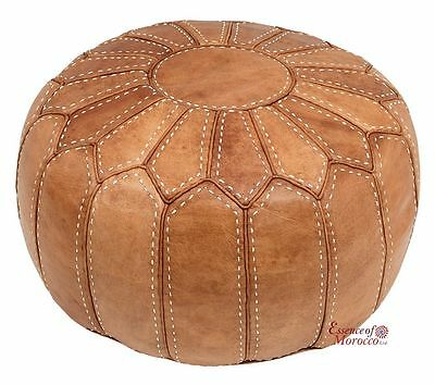 Moroccan Pouf Ottoman STUFFED in UK Genuine Leather Hand-stitched Natural Tan