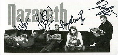 NAZARETH autographed 4x8 group photo         LEGENDARY ROCK BAND      LOVE HURTS
