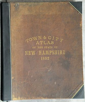 Hurd Town & City Atlas State of New Hampshire 1892 complete rebound