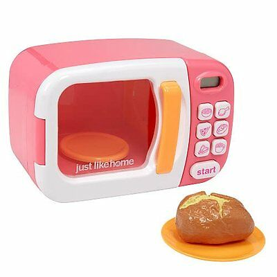 @New@ Just Like Home Microwave With Play Food 10+ Pieces Pink Toy Kids Gift Chr