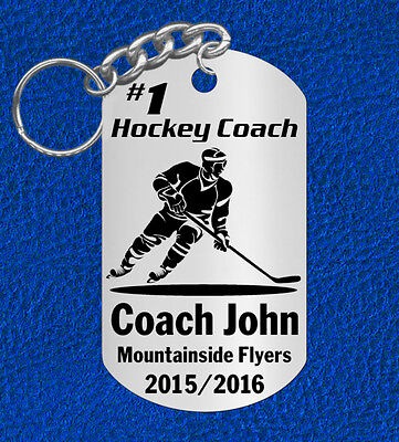 ICE HOCKEY Coach Keychain Gift, Personalized with their NAME & Team! Stick