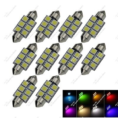 10X White 36MM 37MM 35MM 6 SMD 5050 LED Interior Door Light RV Roof Lamps ZI104