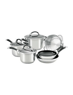 NEW Circulon Symmetry Stainless Steel 6 Piece Non-Stick Cookware Set
