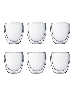 NEW Bodum Pavina Double Walled Glasses, 250ml - Set of 6 White