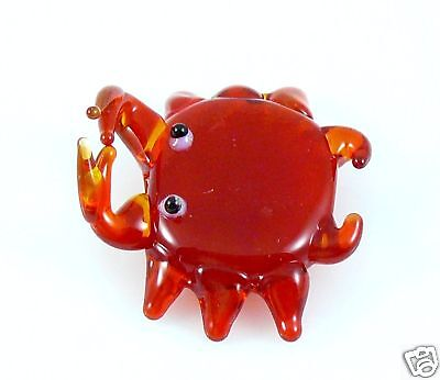 "Fiddler Crab Miniature glass Figurine Round Red approx 1"" across/wide"