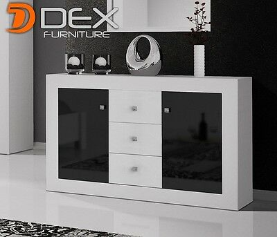 Modern Sideboard Cupboard Buffet - White Matt and Black Gloss - HQ for You