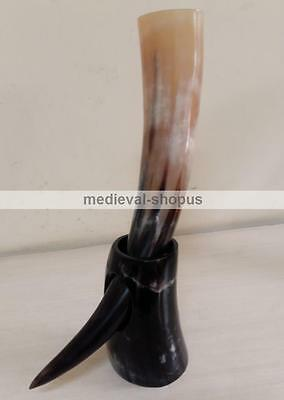 Viking beer drinking horn with stand natural Norwegian polish Buffalo horn