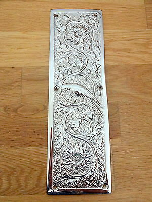 Nickel Plated Arts & Crafts Parrot Finger Door Push Plates Fingerplate