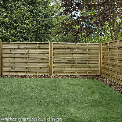 "Pressure Treated Horizontal Weave Garden Fencing • 4ft • 5'11"" • Fence Panels"