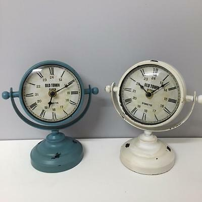 Vintage Shabby Chic METAL SHIP STYLE BALL CLOCK in DUCK EGG or OFF WHITE Home