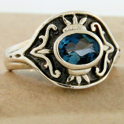 #846 REAL LONDON BLUE TOPAZ VINTAGE STYLE .925 STERLING SILVER RING SIZE 9