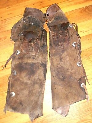 Museum Quality Vintage 1800s Old West Heavy Duty Leather Batwing Chaps
