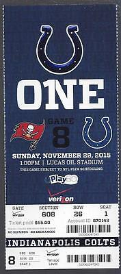 2015 Nfl Tampa Bay Buccaneers @ Indianapolis Colts Full Unused Football Ticket