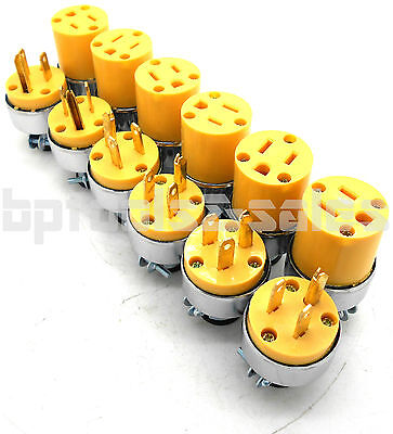 12pc Male & Female Extension Cord Replacement Electrical Plugs 15AMP 125V End