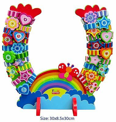 New 20Pcs Wooden Elastic Watch + Stand Pretend Dress Up Role Play Girls Gift Toy