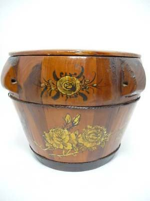 Antique Chinese WOOD Box Rice Bucket Food Carrier Handpainted ALL ORIGINAL