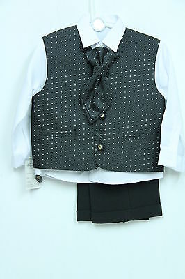 Boys Kids 4 Piece Formal Suit Black Silver Ideal For Weddings 6 Mths - 10 Years