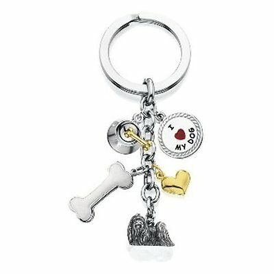 "METAL 6-CHARMS MALTESE DOG KEY CHAIN RING 4"" Little Gifts - NEW"