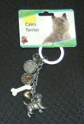 """METAL 6-CHARMS CAIRN TERRIER KEY CHAIN RING 4"""" Little Gifts - NEW"""