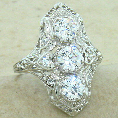 Art Deco Classic Antique Style 925 Sterling Silver Cz Ring Size 6,          #847