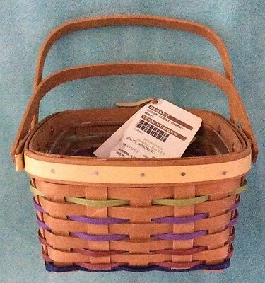 Longaberger Simply Summer Square Basket and Protector Double-Handle - MINT -