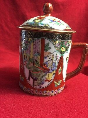 BEAUTIFUL VINTAGE CHINESE HAND PAINTED FAMILLE ROSE MEDALLION MUG with LID