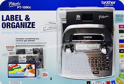 """Brother P-touch PT-1890c Labeling Maker System Bonus 6 """"AA"""" Batteries & 2 Tapes"""
