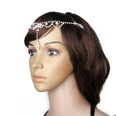 Silver Bridal Wedding Crystal FRONTLET Forehead Band Headpiece Hair Jewelry