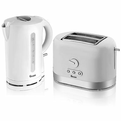 Swan SS Kitchen Set - 1.7 Litre White Jug Kettle And 2 Slice Electric Toaster