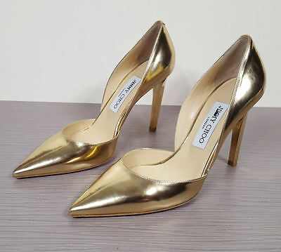 Jimmy Choo 'Darilyn' d'Orsay Pointy Toe Pump Gold Patent Womens Size 7 / 37