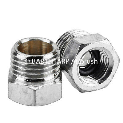 2 x Airbrush Air Hose Adaptor G1/8thBSP Female-G1/4BSP Male Airbrush Adaptor