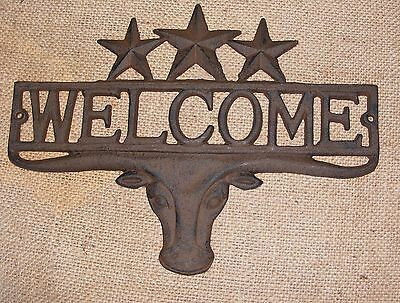 Cast Iron WELCOME STEER STAR Plaque Wall Sign Star Country Rustic Western  #403