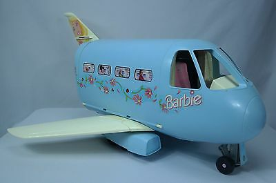 VTG 1999 Mattel Barbie Doll Powder Blue Jumbo Jet Airplane/Plane w Sounds #22007