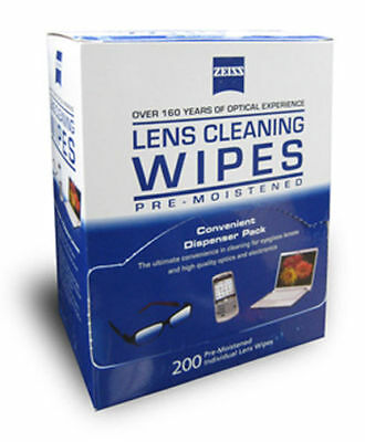 Zeiss 225 qty. Lens Cleaner Glasses Wet Cloth Wipes Packets Camera Cleaning