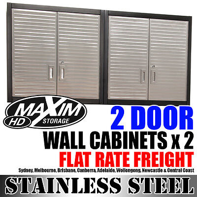 MAXIM Stainless Steel 2 Door Wall Cabinets x 2 Storage Shelves Garage Shed