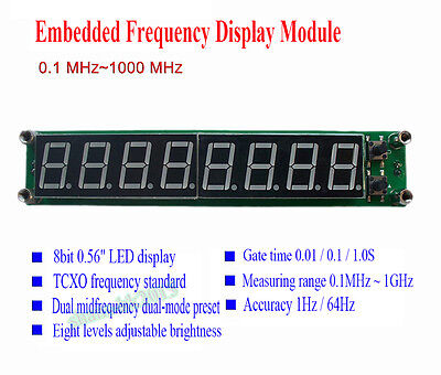 New PLJ-8LED-H RF Signal Frequency Counter Cymometer Tester Module 0.1~1000MHz