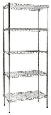 "Apollo Chrome 5-Shelf Nsf Wire Shelving Rack With Wheels, 14""X24""X60"""