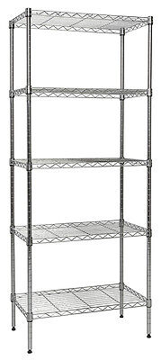 "Apollo Hardware Chrome 5-Shelf Nsf Wire Shelving Rack With Wheels, 14""X24""X60"""