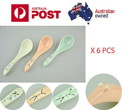 6 X Vintage Chinese Porcelain Famille Spoon  Pattern Very Collectible Gift