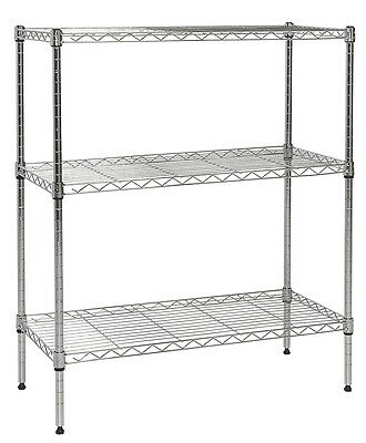 "Apollo Chrome 3-Shelf Nsf Wire Shelving Rack With Wheels, 14""X30""X36"""